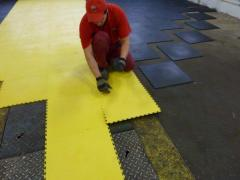 The flooring for installation of simulators and training hard at